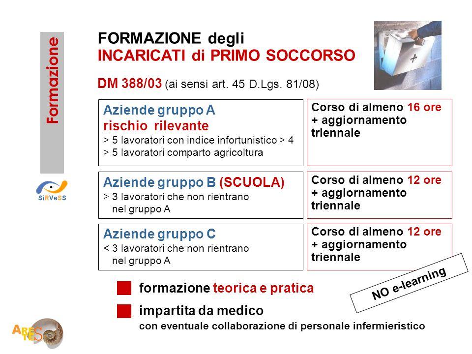 DM 388/03 (ai sensi art. 45 D.Lgs. 81/08) formazione teorica e pratica impartita da medico con eventuale collaborazione di personale infermieristico F