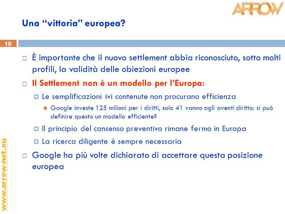 10 www.arrow-net.eu Una vittoria europea? È importante che il nuovo settlement abbia riconosciuto, sotto molti profili, la validità delle obiezioni eu