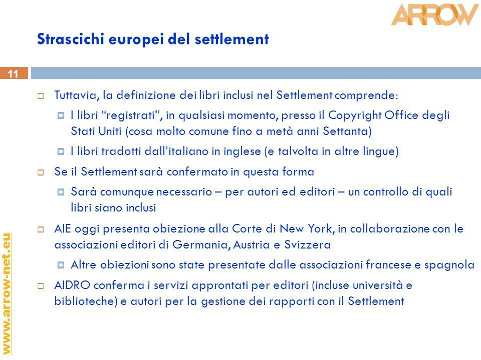 11 www.arrow-net.eu Strascichi europei del settlement Tuttavia, la definizione dei libri inclusi nel Settlement comprende: I libri registrati, in qual