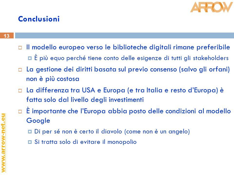 13 www.arrow-net.eu Conclusioni Il modello europeo verso le biblioteche digitali rimane preferibile È più equo perché tiene conto delle esigenze di tu