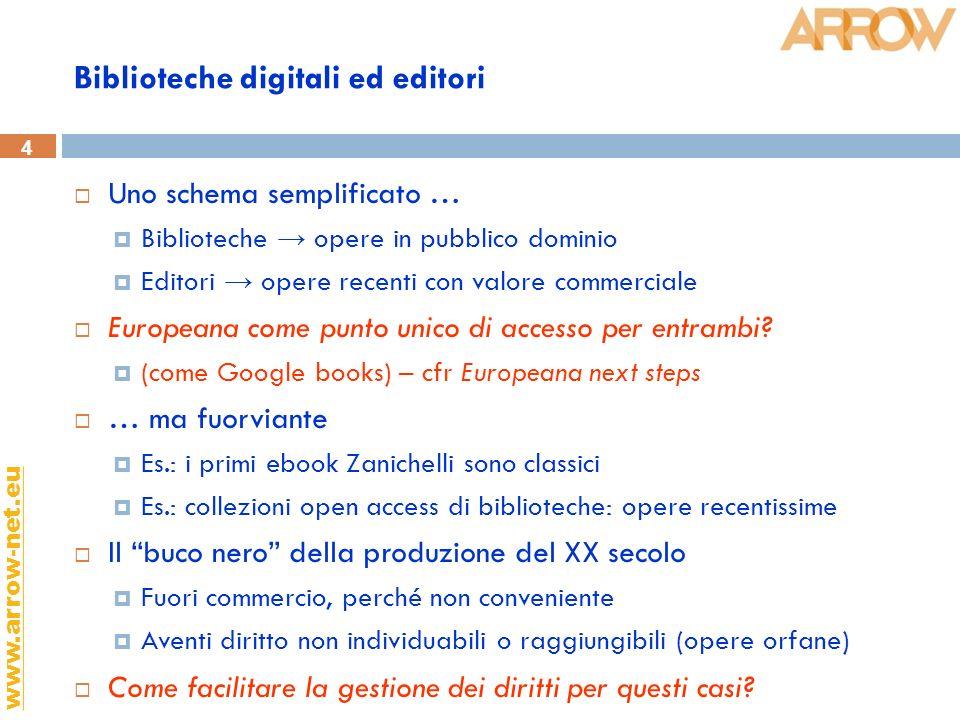 4 www.arrow-net.eu Biblioteche digitali ed editori Uno schema semplificato … Biblioteche opere in pubblico dominio Editori opere recenti con valore commerciale Europeana come punto unico di accesso per entrambi.