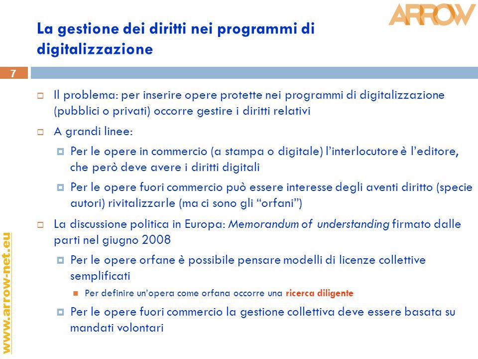 7 www.arrow-net.eu La gestione dei diritti nei programmi di digitalizzazione Il problema: per inserire opere protette nei programmi di digitalizzazion