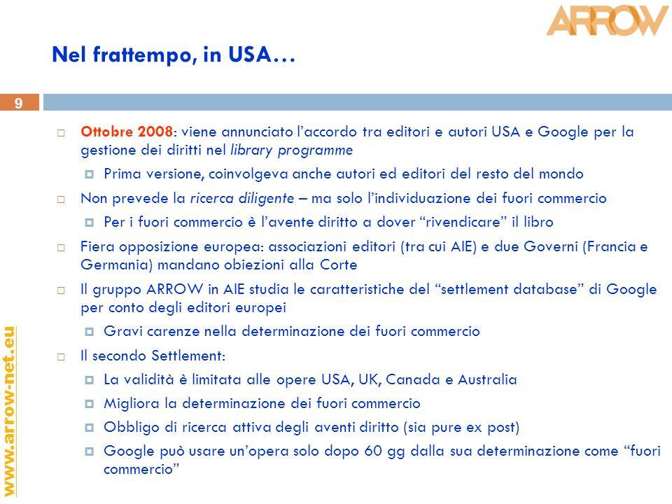 9 www.arrow-net.eu Nel frattempo, in USA… Ottobre 2008: viene annunciato laccordo tra editori e autori USA e Google per la gestione dei diritti nel li