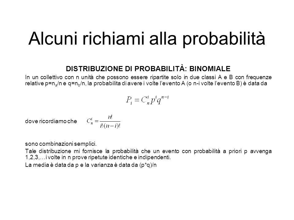 Alcuni richiami alla probabilità DISTRIBUZIONE DI PROBABILITÀ: BINOMIALE In un collettivo con n unità che possono essere ripartite solo in due classi