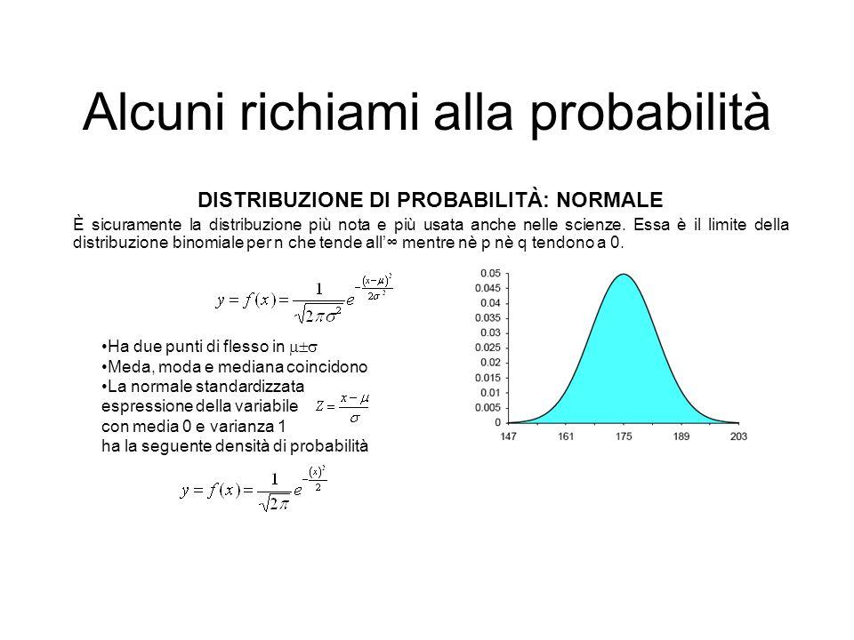 Alcuni richiami alla probabilità DISTRIBUZIONE DI PROBABILITÀ: NORMALE È sicuramente la distribuzione più nota e più usata anche nelle scienze. Essa è