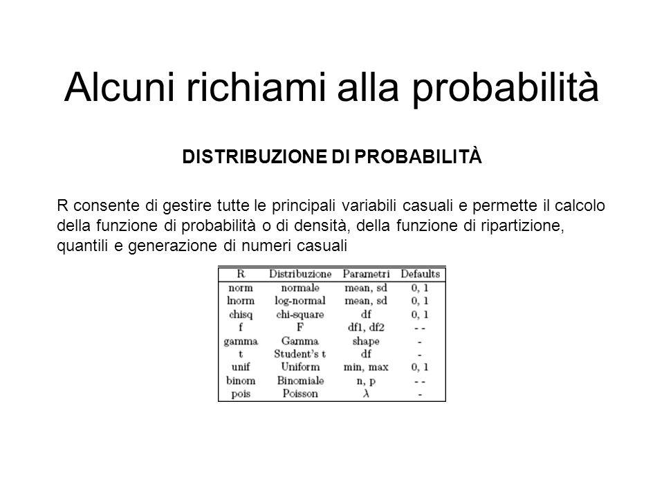 Alcuni richiami alla probabilità DISTRIBUZIONE DI PROBABILITÀ R consente di gestire tutte le principali variabili casuali e permette il calcolo della