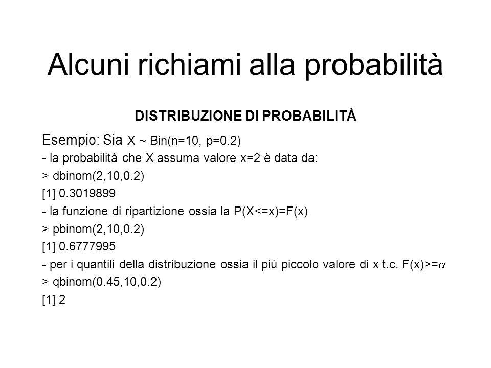 Alcuni richiami alla probabilità DISTRIBUZIONE DI PROBABILITÀ Esempio: Sia X ~ Bin(n=10, p=0.2) - la probabilità che X assuma valore x=2 è data da: >