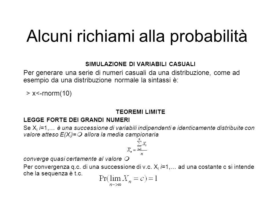 Alcuni richiami alla probabilità SIMULAZIONE DI VARIABILI CASUALI Per generare una serie di numeri casuali da una distribuzione, come ad esempio da un