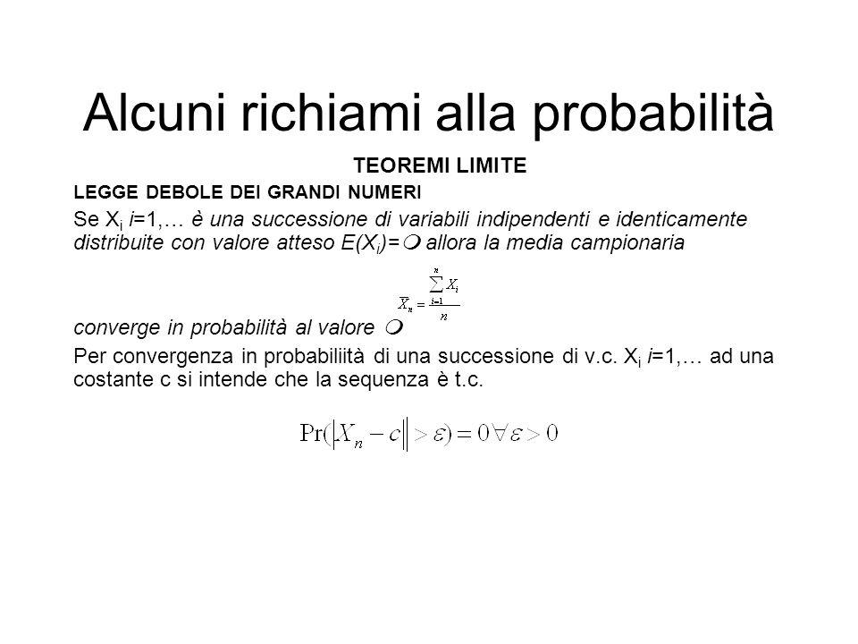 Alcuni richiami alla probabilità TEOREMI LIMITE LEGGE DEBOLE DEI GRANDI NUMERI Se X i i=1,… è una successione di variabili indipendenti e identicament