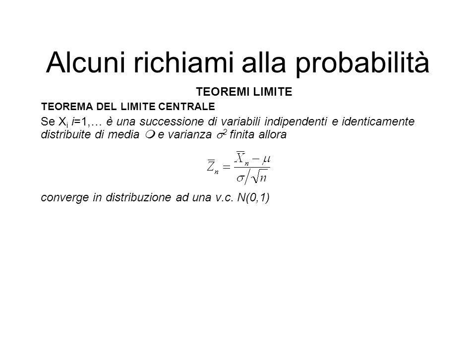 Alcuni richiami alla probabilità TEOREMI LIMITE TEOREMA DEL LIMITE CENTRALE Se X i i=1,… è una successione di variabili indipendenti e identicamente d