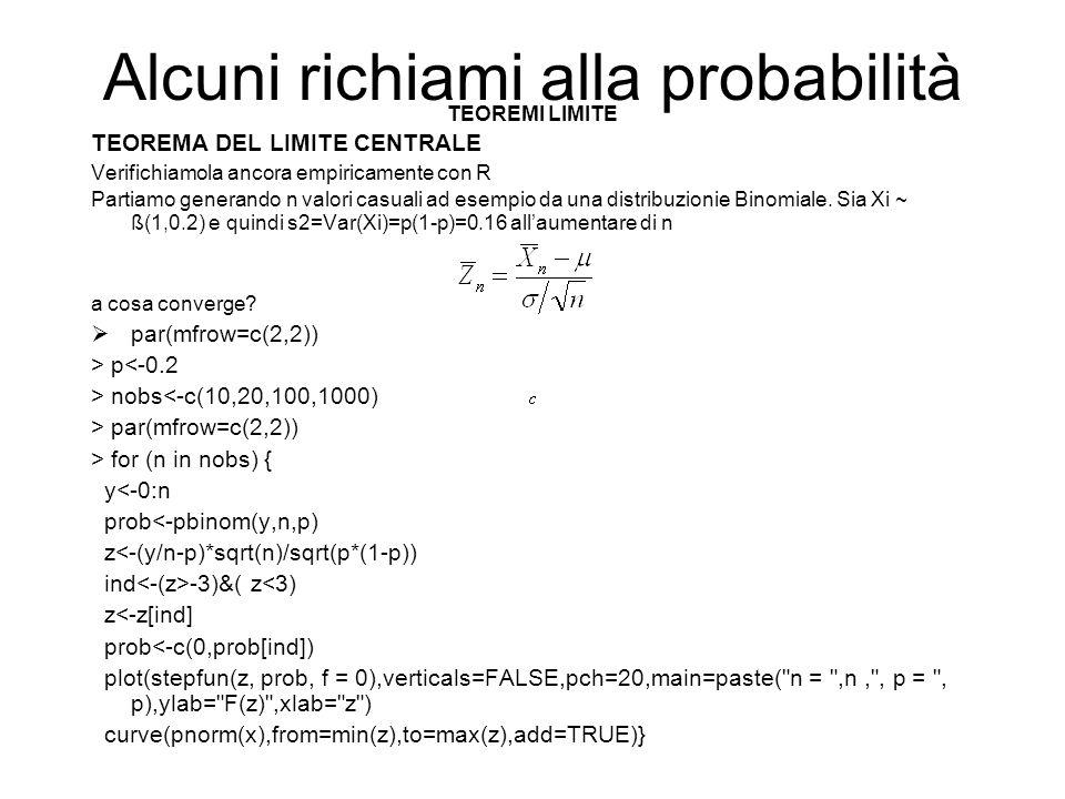 Alcuni richiami alla probabilità TEOREMI LIMITE TEOREMA DEL LIMITE CENTRALE Verifichiamola ancora empiricamente con R Partiamo generando n valori casu