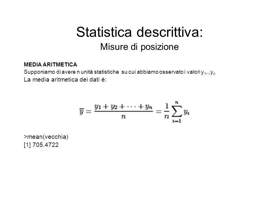 Statistica descrittiva: Misure di posizione MEDIA ARITMETICA Supponiamo di avere n unità statistiche su cui abbiamo osservato i valori y 1,,,y n La me