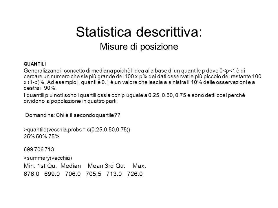 Statistica descrittiva: Misure di posizione QUANTILI Generalizzano il concetto di mediana poichè lidea alla base di un quantile p dove 0<p<1 è di cerc