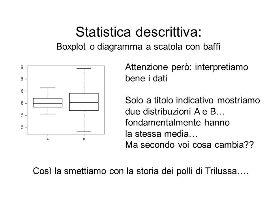 Statistica descrittiva: Boxplot o diagramma a scatola con baffi Attenzione però: interpretiamo bene i dati Solo a titolo indicativo mostriamo due dist