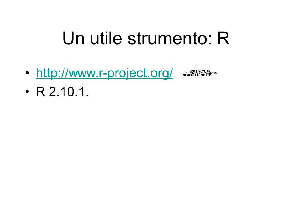 Un utile strumento: R http://www.r-project.org/ R 2.10.1.