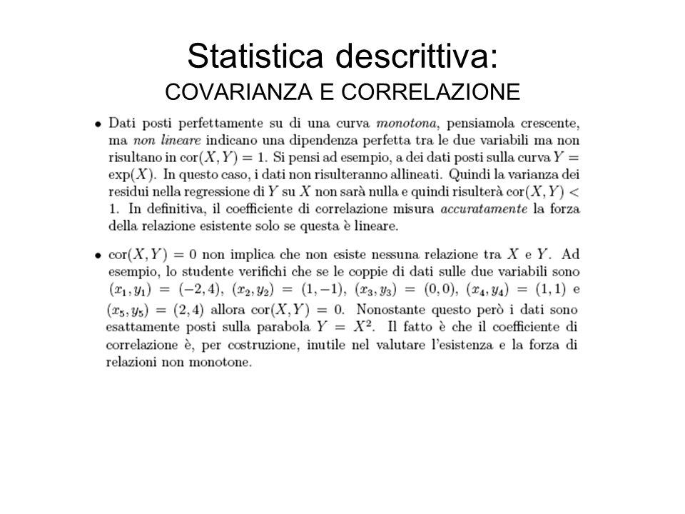 Statistica descrittiva: COVARIANZA E CORRELAZIONE