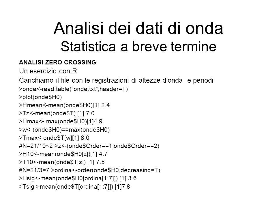 Analisi dei dati di onda Statistica a breve termine ANALISI ZERO CROSSING Un esercizio con R Carichiamo il file con le registrazioni di altezze donda