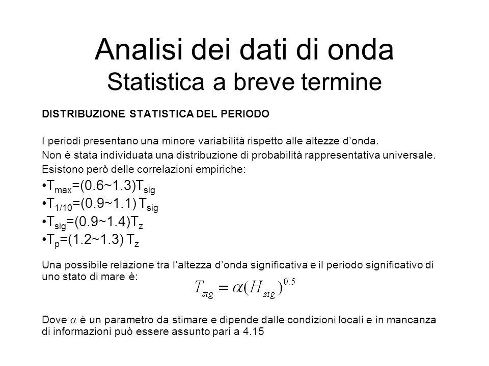 Analisi dei dati di onda Statistica a breve termine DISTRIBUZIONE STATISTICA DEL PERIODO I periodi presentano una minore variabilità rispetto alle alt