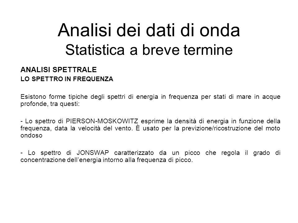 Analisi dei dati di onda Statistica a breve termine ANALISI SPETTRALE LO SPETTRO IN FREQUENZA Esistono forme tipiche degli spettri di energia in frequ