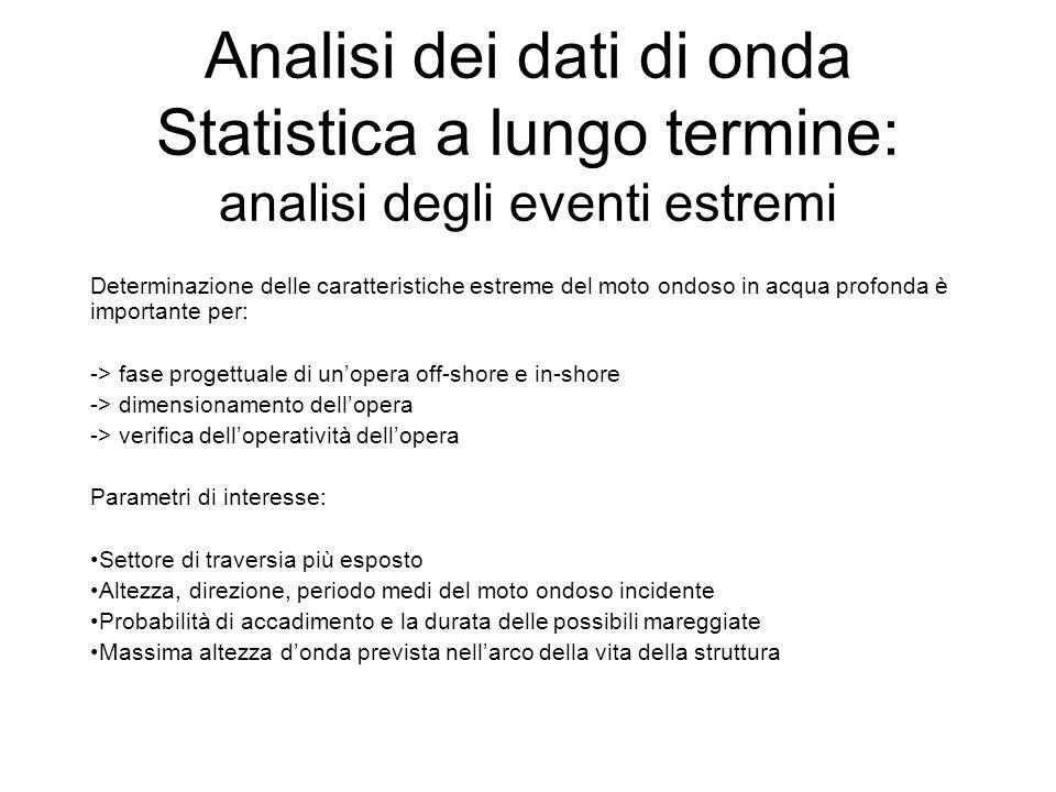 Analisi dei dati di onda Statistica a lungo termine: analisi degli eventi estremi Determinazione delle caratteristiche estreme del moto ondoso in acqu