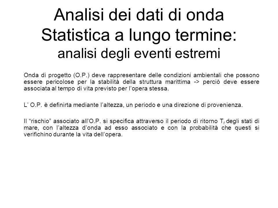 Analisi dei dati di onda Statistica a lungo termine: analisi degli eventi estremi Onda di progetto (O.P.) deve rappresentare delle condizioni ambienta