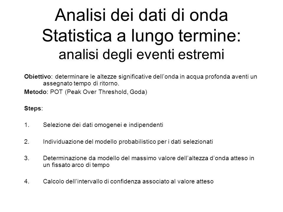 Analisi dei dati di onda Statistica a lungo termine: analisi degli eventi estremi Obiettivo: determinare le altezze significative dellonda in acqua pr