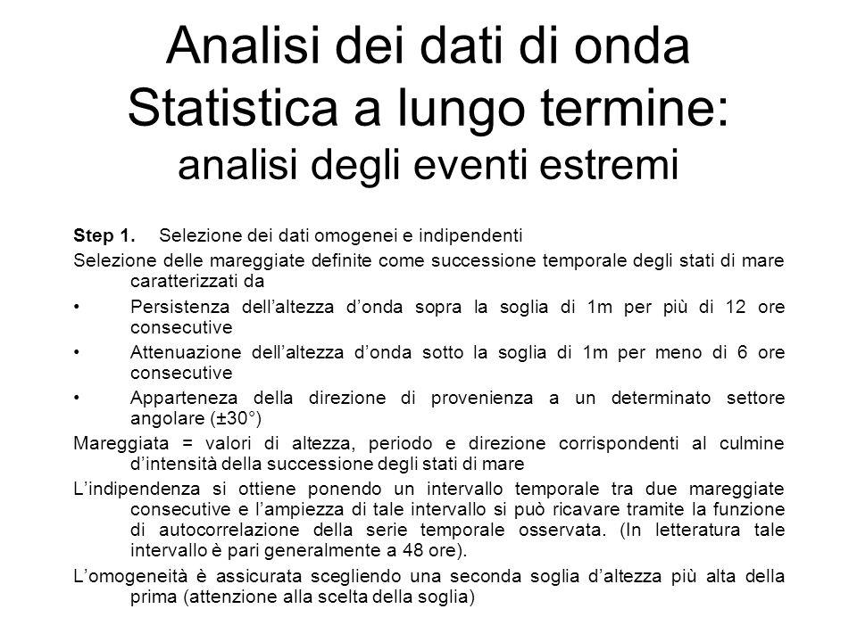 Analisi dei dati di onda Statistica a lungo termine: analisi degli eventi estremi Step 1.Selezione dei dati omogenei e indipendenti Selezione delle ma
