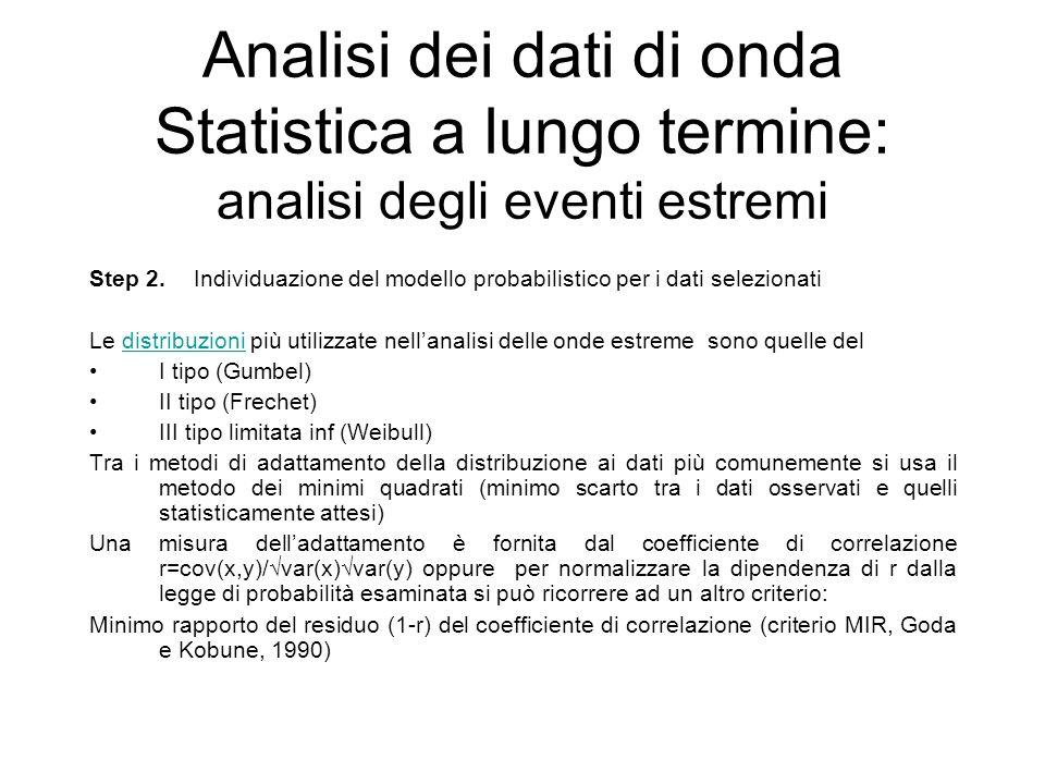 Analisi dei dati di onda Statistica a lungo termine: analisi degli eventi estremi Step 2.Individuazione del modello probabilistico per i dati selezion