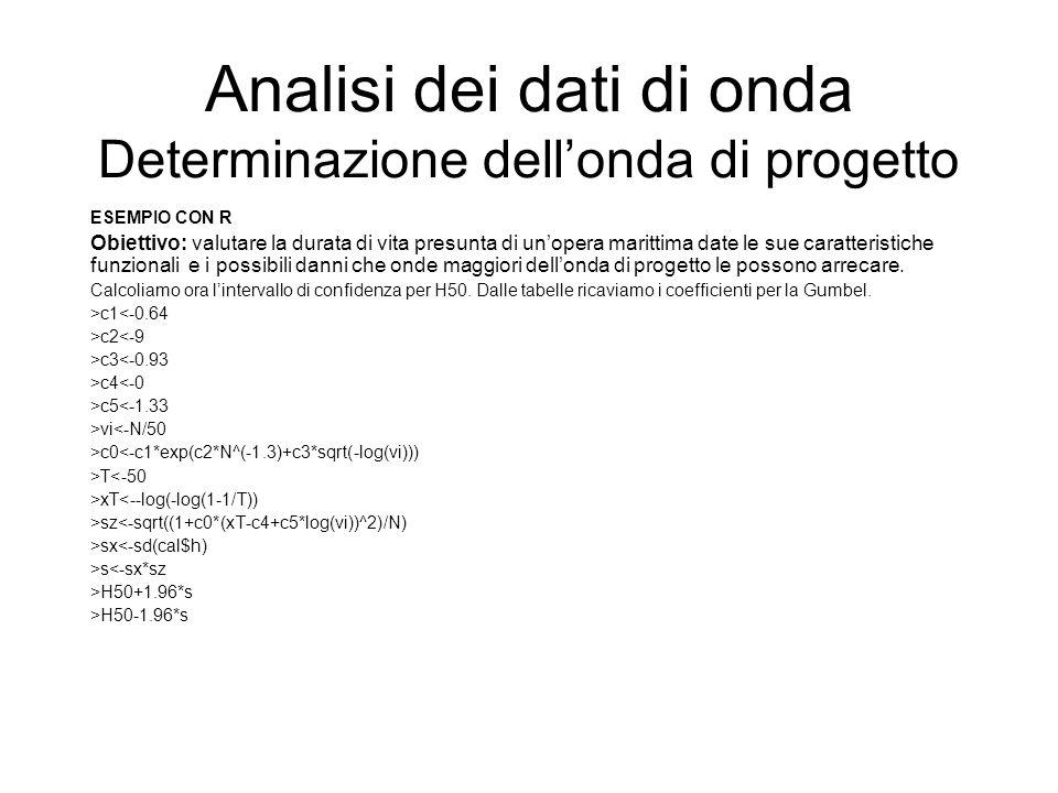 Analisi dei dati di onda Determinazione dellonda di progetto ESEMPIO CON R Obiettivo: valutare la durata di vita presunta di unopera marittima date le