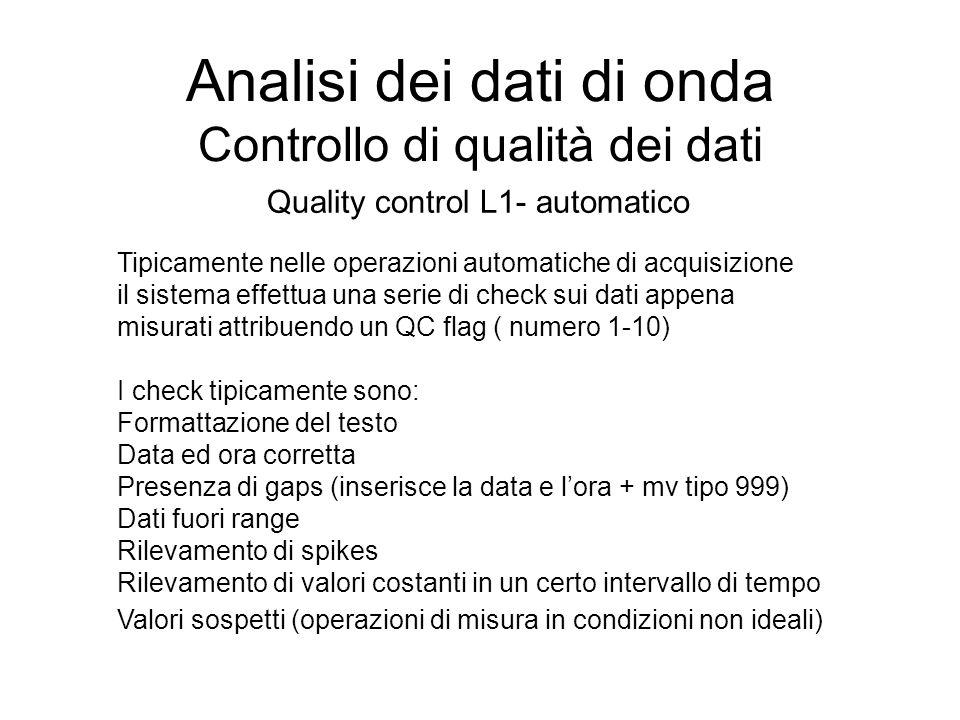 Analisi dei dati di onda Controllo di qualità dei dati Quality control L1- automatico Tipicamente nelle operazioni automatiche di acquisizione il sist