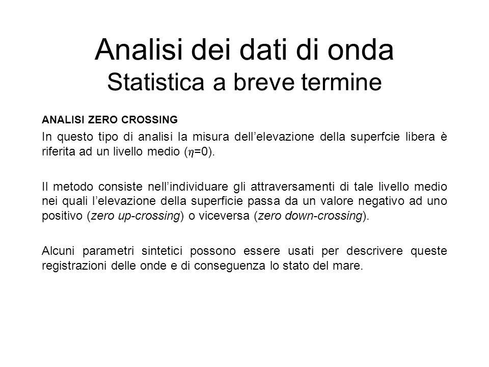 Analisi dei dati di onda Statistica a breve termine ANALISI ZERO CROSSING In questo tipo di analisi la misura dellelevazione della superfcie libera è