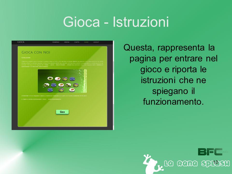 10 Gioca - Istruzioni Questa, rappresenta la pagina per entrare nel gioco e riporta le istruzioni che ne spiegano il funzionamento.