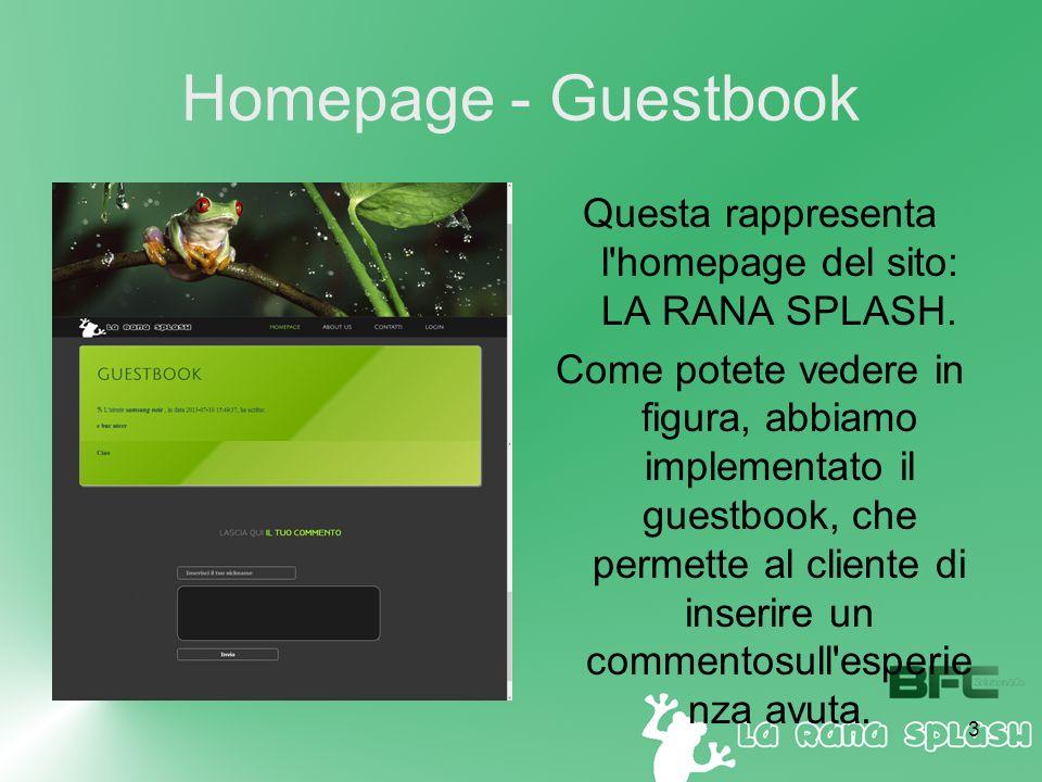 3 Homepage - Guestbook Questa rappresenta l homepage del sito: LA RANA SPLASH.