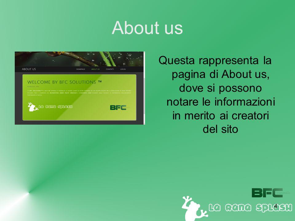 4 About us Questa rappresenta la pagina di About us, dove si possono notare le informazioni in merito ai creatori del sito
