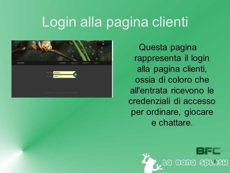 6 Login alla pagina clienti Questa pagina rappresenta il login alla pagina clienti, ossia di coloro che all entrata ricevono le credenziali di accesso per ordinare, giocare e chattare.