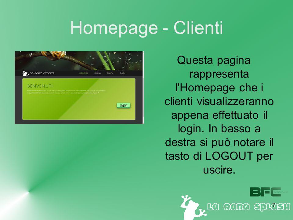 7 Homepage - Clienti Questa pagina rappresenta l Homepage che i clienti visualizzeranno appena effettuato il login.
