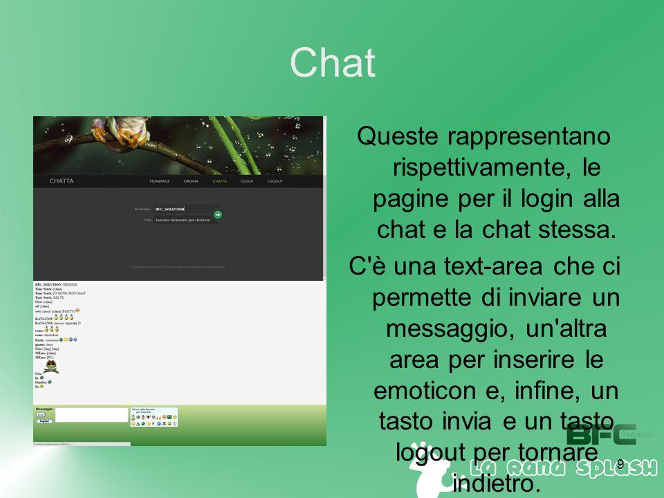 9 Chat Queste rappresentano rispettivamente, le pagine per il login alla chat e la chat stessa.