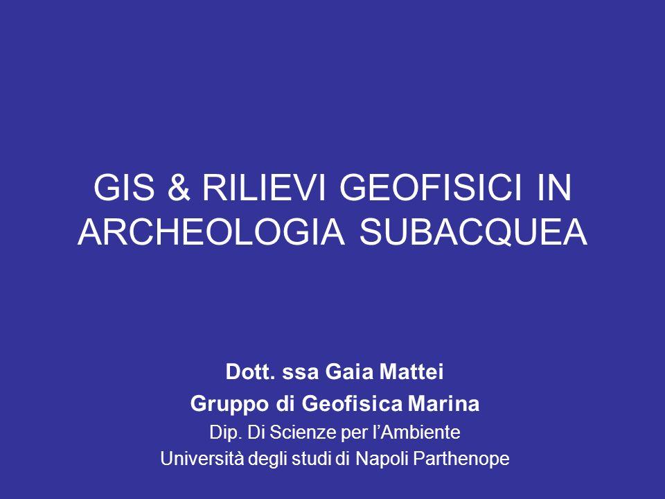 GIS & RILIEVI GEOFISICI IN ARCHEOLOGIA SUBACQUEA Dott. ssa Gaia Mattei Gruppo di Geofisica Marina Dip. Di Scienze per lAmbiente Università degli studi