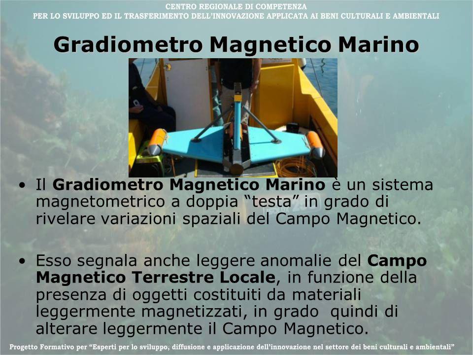 Gradiometro Magnetico Marino Il Gradiometro Magnetico Marino è un sistema magnetometrico a doppia testa in grado di rivelare variazioni spaziali del C