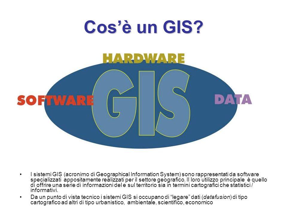 Cosè un GIS? I sistemi GIS (acronimo di Geographical Information System) sono rappresentati da software specializzati appositamente realizzati per il