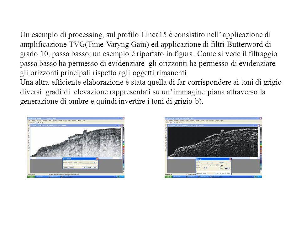 Un esempio di processing, sul profilo Linea15 è consistito nell applicazione di amplificazione TVG(Time Varyng Gain) ed applicazione di filtri Butterword di grado 10, passa basso; un esempio è riportato in figura.
