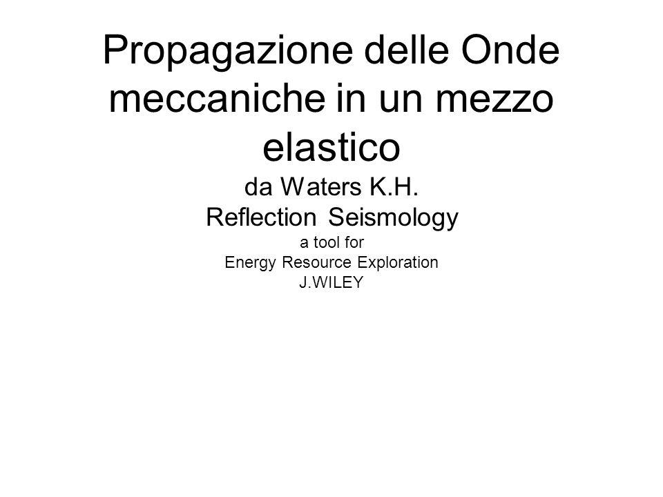Propagazione delle Onde meccaniche in un mezzo elastico da Waters K.H. Reflection Seismology a tool for Energy Resource Exploration J.WILEY