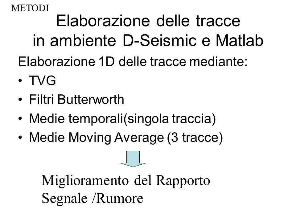 Elaborazione delle tracce in ambiente D-Seismic e Matlab Elaborazione 1D delle tracce mediante: TVG Filtri Butterworth Medie temporali(singola traccia