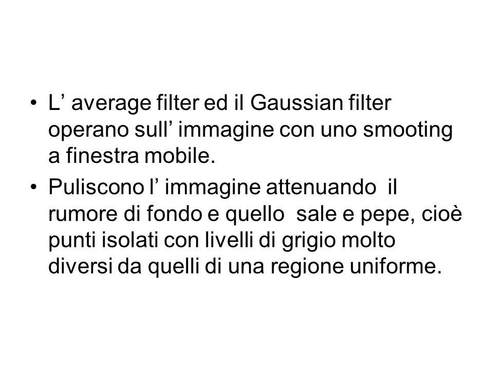 L average filter ed il Gaussian filter operano sull immagine con uno smooting a finestra mobile. Puliscono l immagine attenuando il rumore di fondo e
