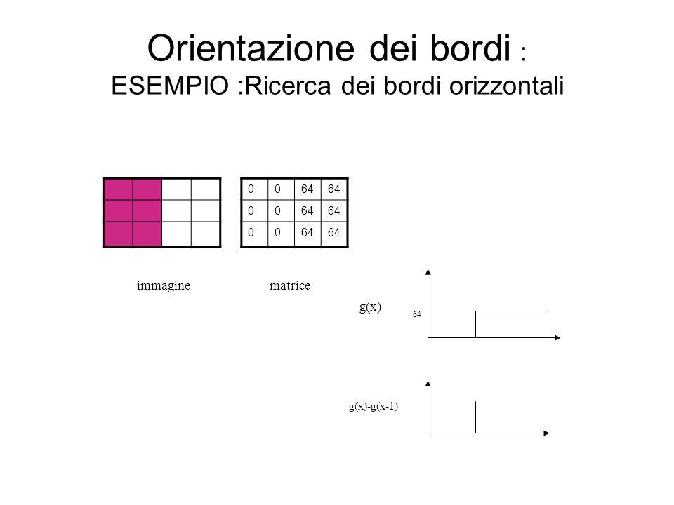 Orientazione dei bordi : ESEMPIO :Ricerca dei bordi orizzontali matrice 64 g(x) g(x)-g(x-1) 0064 00 00 immagine