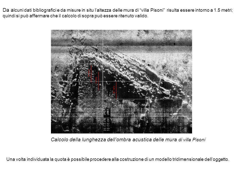 Da a lcuni dati bibliografici e da misure in situ laltezza delle mura di villa Pisoni risulta essere intorno a 1.5 metri; quindi si può affermare che