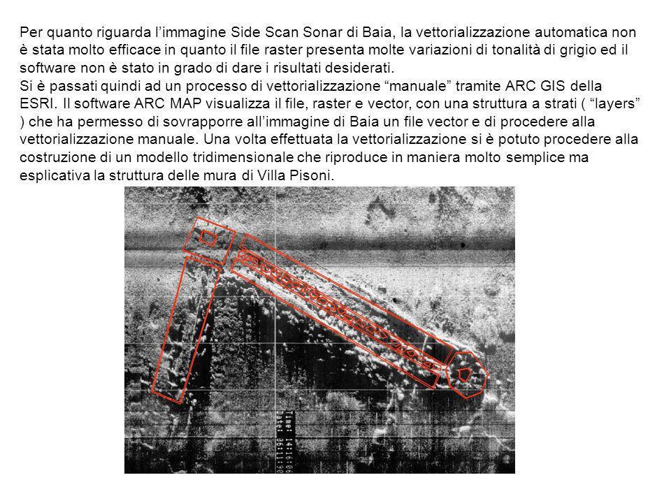 Per quanto riguarda limmagine Side Scan Sonar di Baia, la vettorializzazione automatica non è stata molto efficace in quanto il file raster presenta m