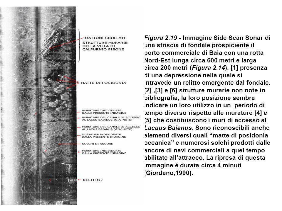Figura 2.19 - Immagine Side Scan Sonar di una striscia di fondale prospiciente il porto commerciale di Baia con una rotta Nord-Est lunga circa 600 met