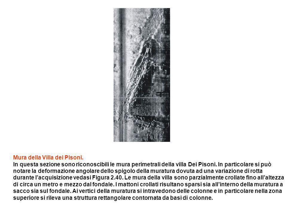 Mura della Villa dei Pisoni. In questa sezione sono riconoscibili le mura perimetrali della villa Dei Pisoni. In particolare si può notare la deformaz