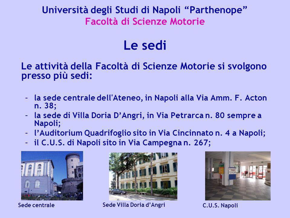 Università degli Studi di Napoli Parthenope Facoltà di Scienze Motorie Le attività della Facoltà di Scienze Motorie si svolgono presso più sedi: –la s